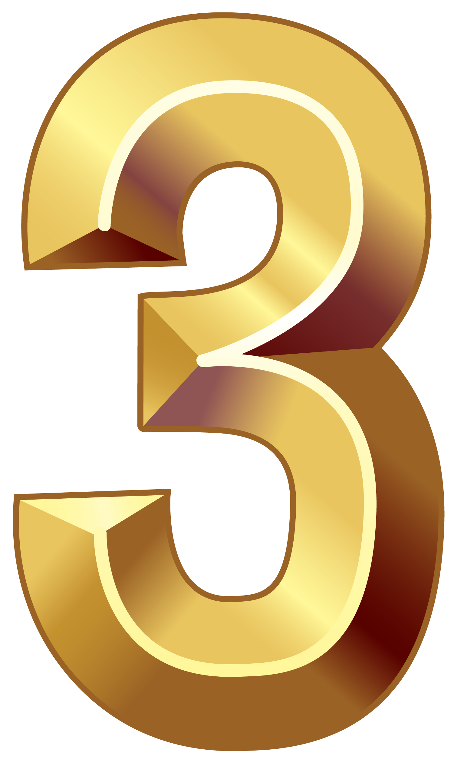 Gold number png image. Clipart numbers three