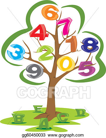 Vector art with letters. Tree clipart literacy