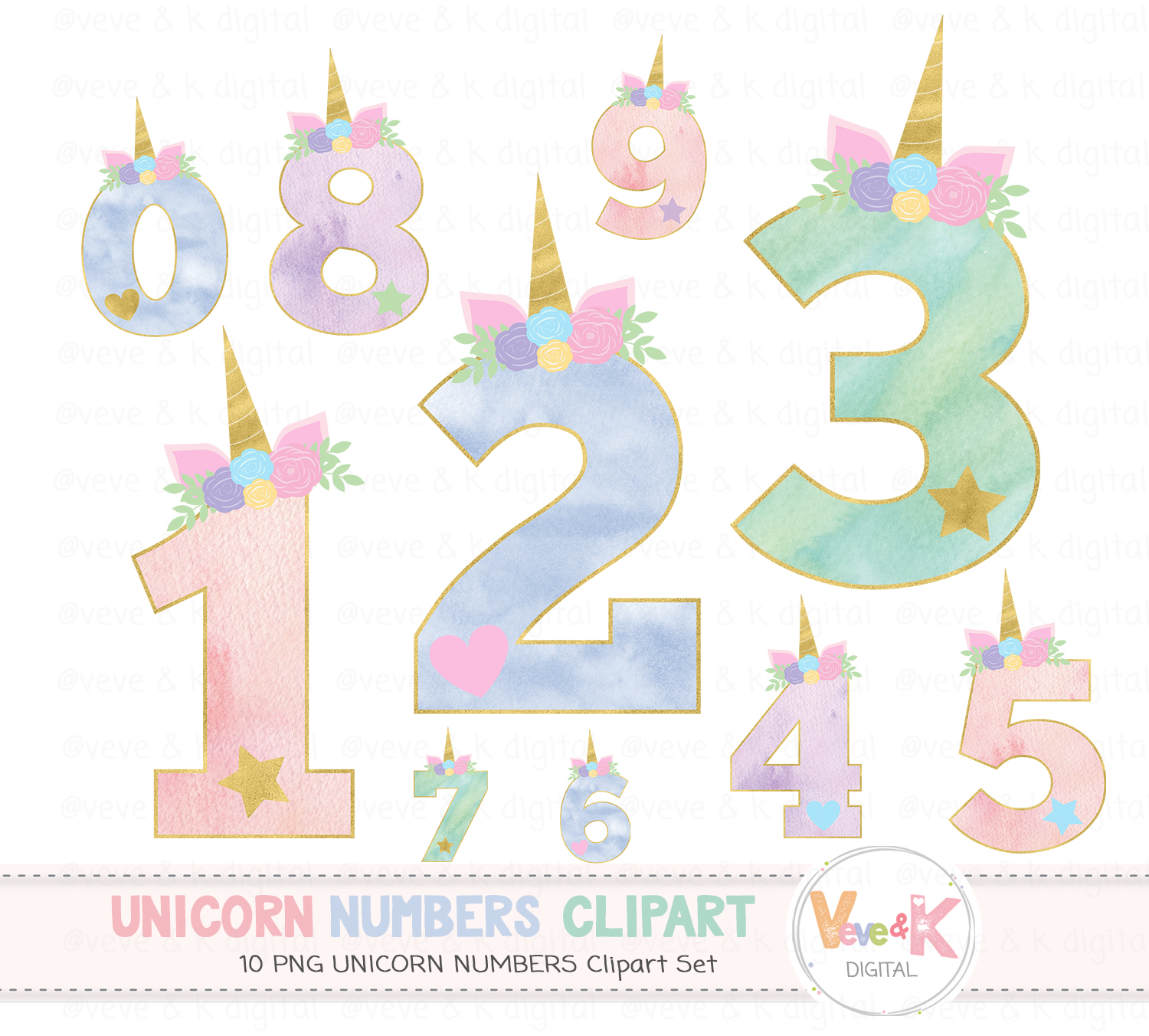 Clipart unicorn number. Numbers graphics baby shower