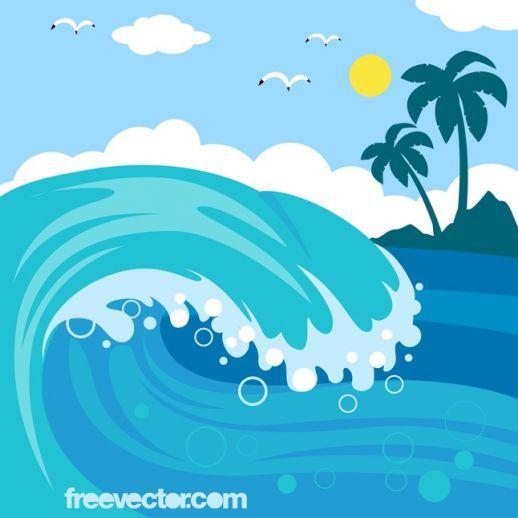 Cartoon waves wave vector. Clipart ocean