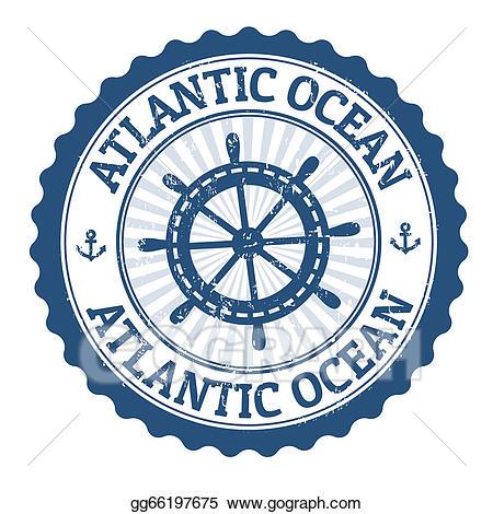 Vector art stamp drawing. Clipart ocean atlantic ocean