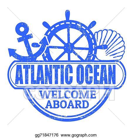 Clipart ocean atlantic ocean. Vector art stamp drawing