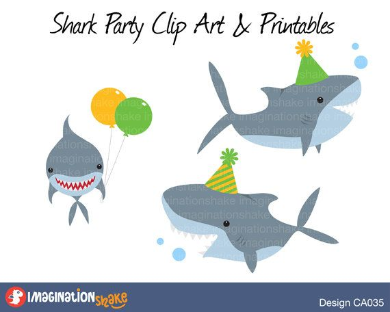 Shark party clip art. Ocean clipart birthday