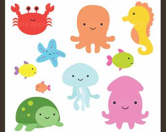 Free sea animal art. Clipart ocean critter