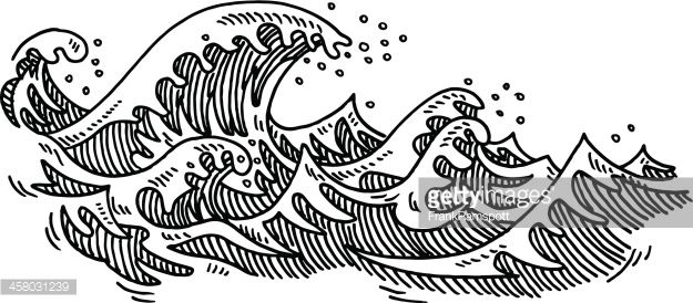Clipart ocean drawing. Hand drawn vector of