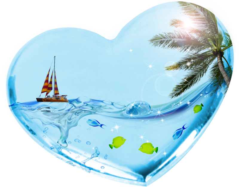 Clipart ocean heart. Tropical clip art hearts