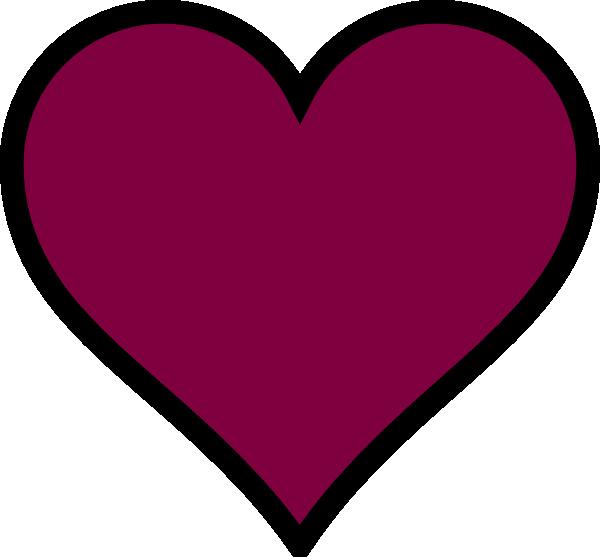 Maroon heart black decor. Decorative clipart purple
