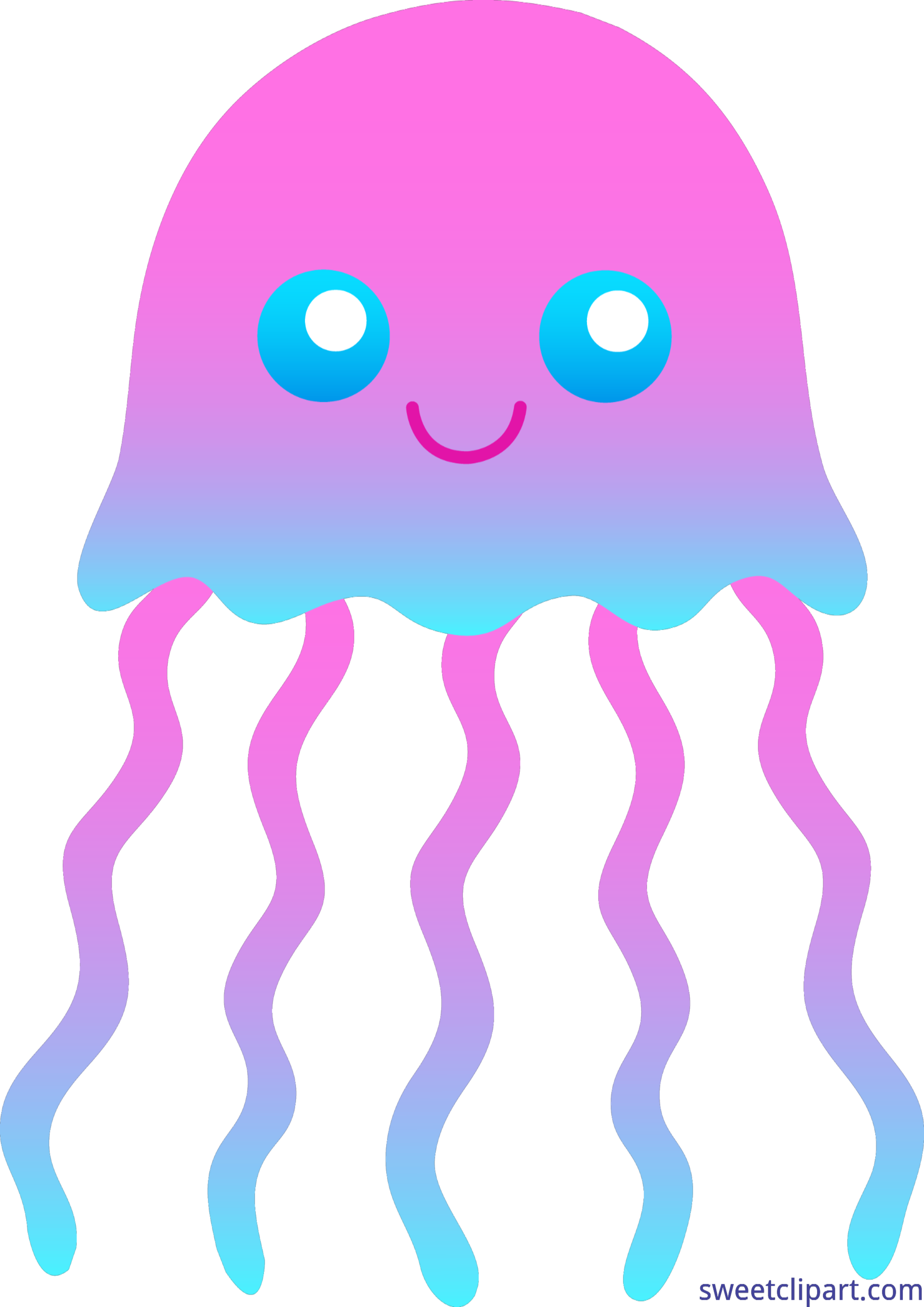 Clipart ocean jellyfish. Pink and blue clip