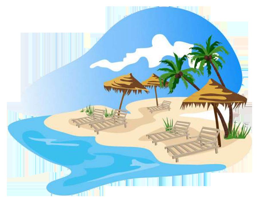Landscape clipart beach water. Cartoon stock illustration clip