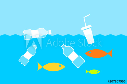 Ocean clipart ocean environment. Plastic bottles are floating