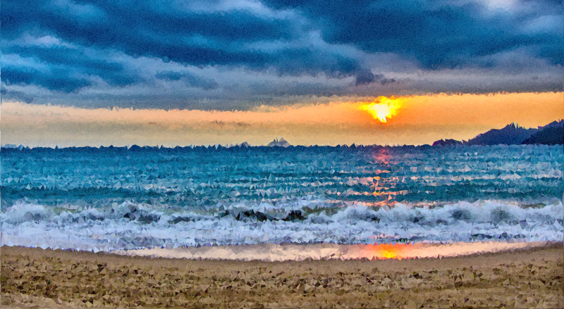 High poly tropical paradise. Clipart ocean ocean horizon