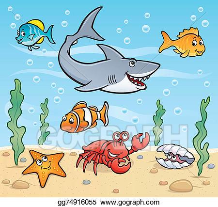 Clipart ocean ocean scene. Stock illustration sea life