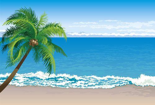 Elements of tropical beach. Clipart ocean ocean scenery