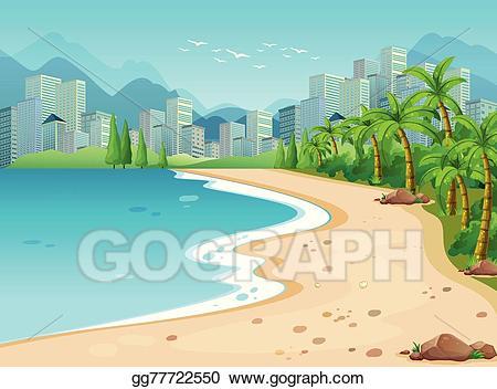 Vector illustration stock clip. Clipart ocean ocean view