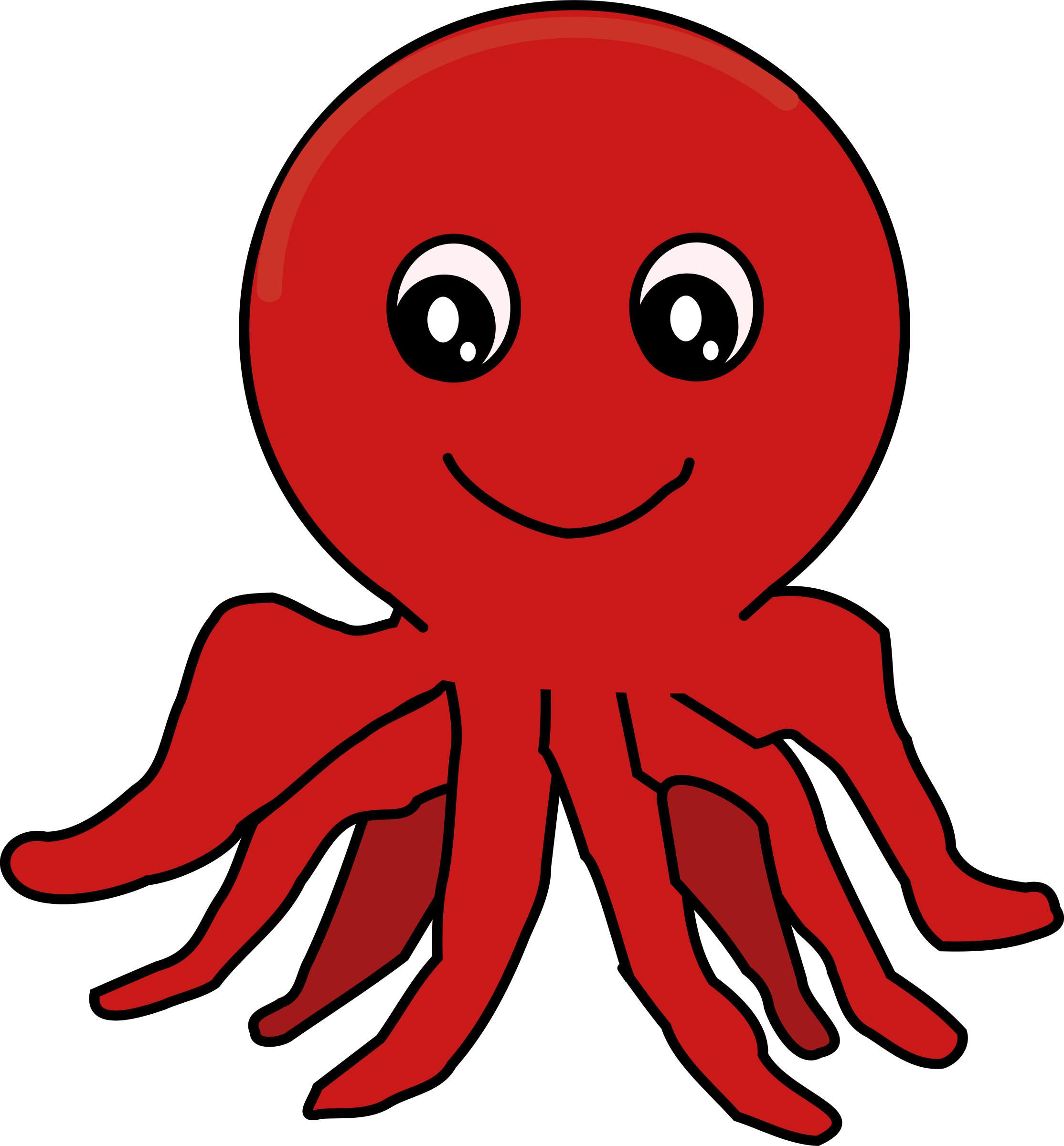 Red cartoon big image. Octopus clipart happy octopus