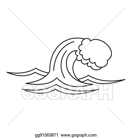 Stock illustration or sea. Clipart ocean outline