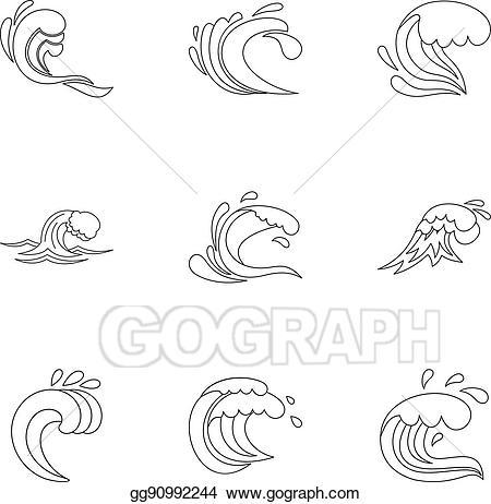 Clipart wave wave outline. Vector art ocean waves