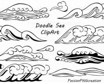 Clipart ocean outline. Doodle marine life sea