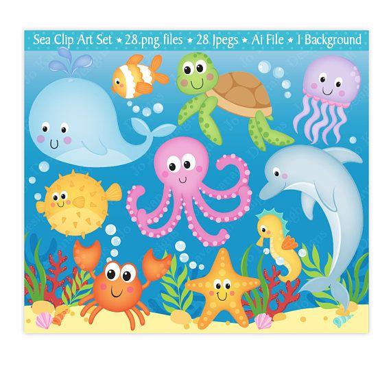 Sea animals clip art. Clipart ocean preschool