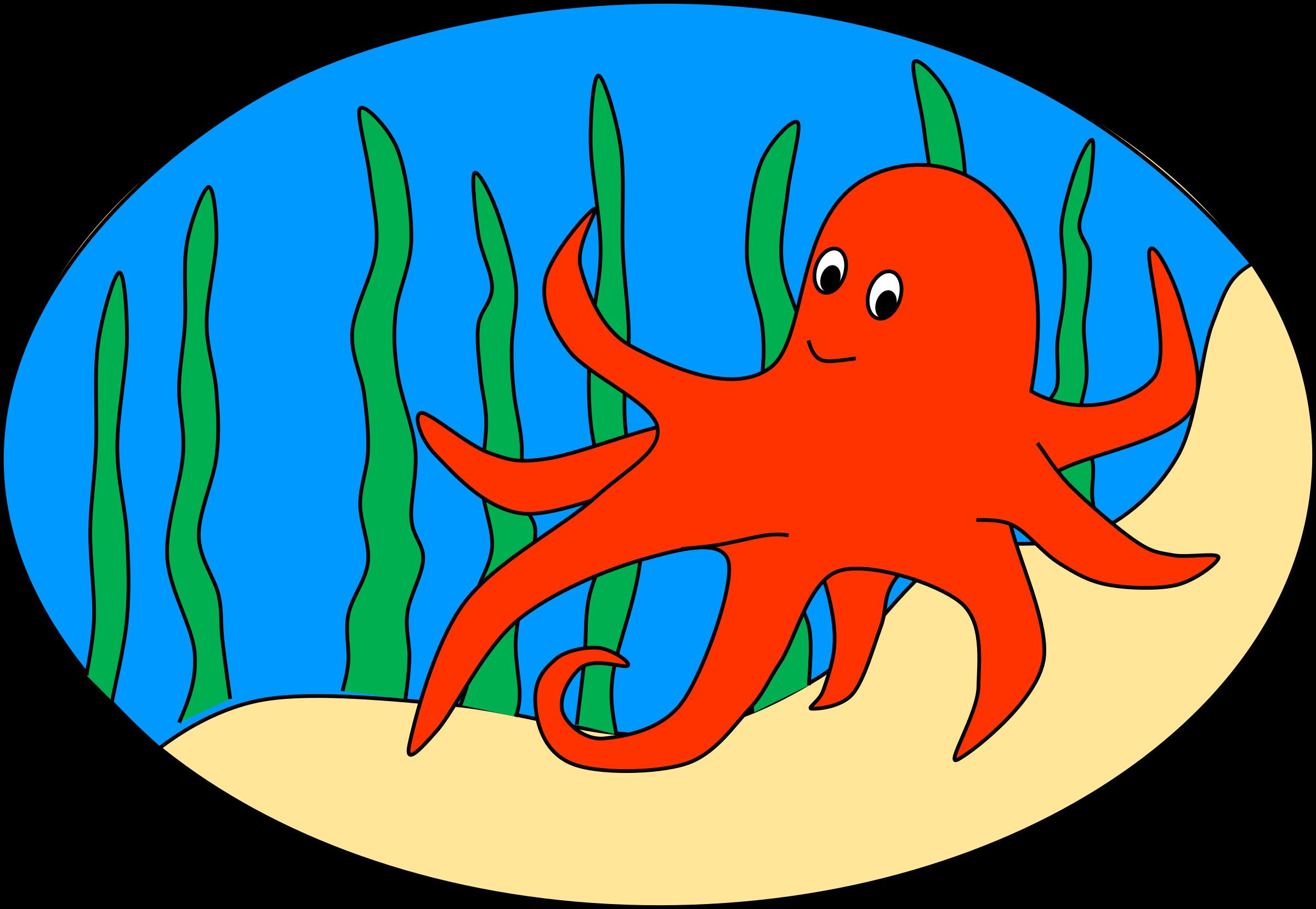 Oval of orange octopus. Ocean clipart ocean floor