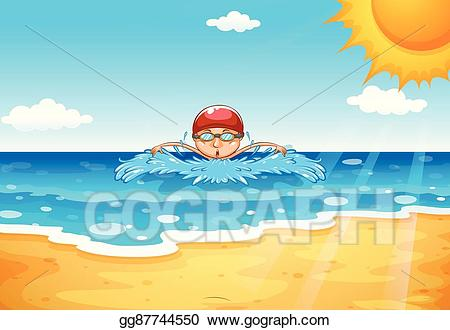 Ocean clipart swimming. Vector stock man in