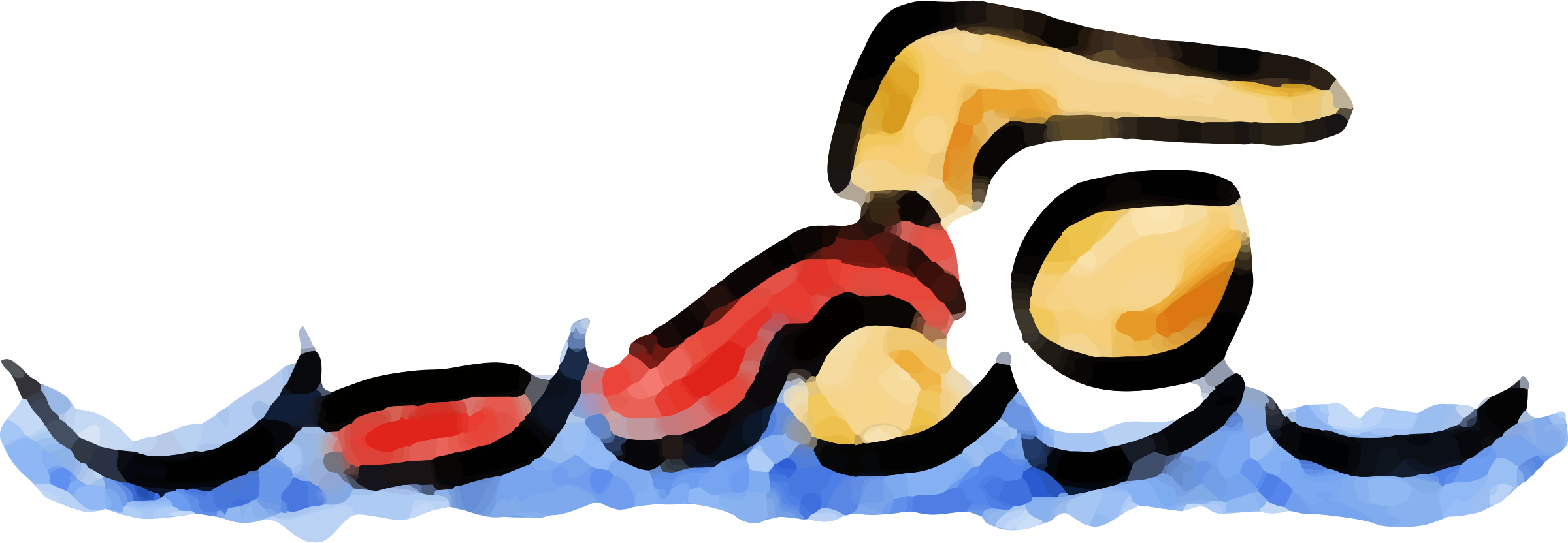 Abstract swimmer big image. Clipart swimming love