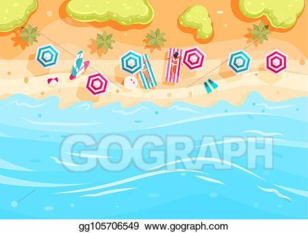 Vector stock people swim. Clipart ocean top view