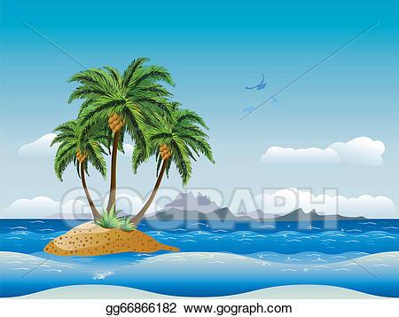 Vector stock island in. Clipart ocean tropical