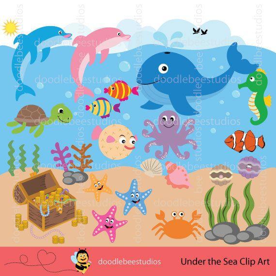 Clipart ocean under sea. Life creatures clip art