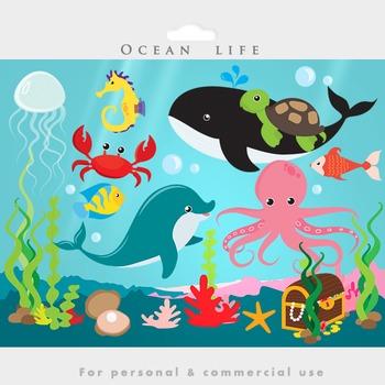 The ocean clip art. Dolphins clipart under sea