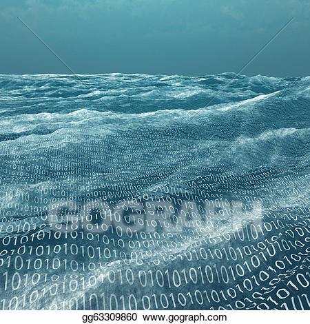 Stock illustration binary code. Ocean clipart vast