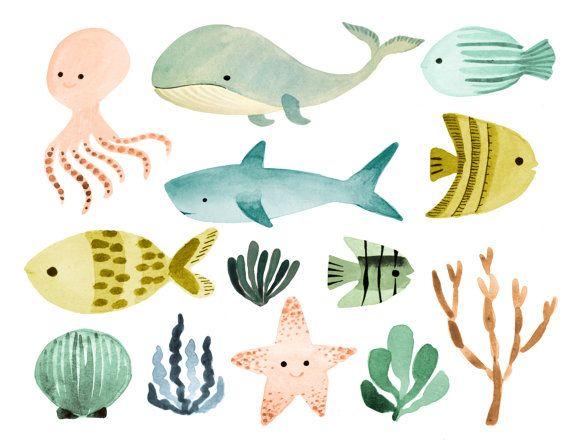 Ocean clipart watercolor. Sea