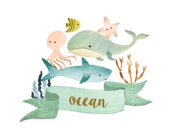 Sea . Clipart ocean watercolor