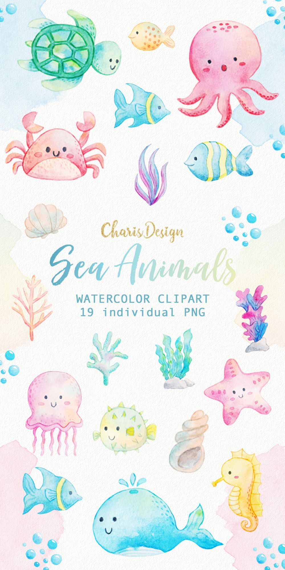 Clipart ocean watercolor. Sea animals seaweed underwater