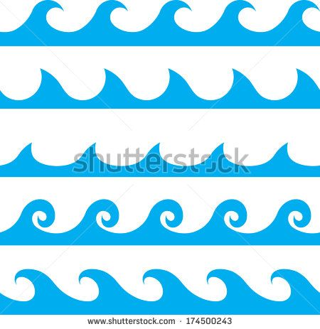 Seamless vector blue line. Clipart wave wave pattern wave