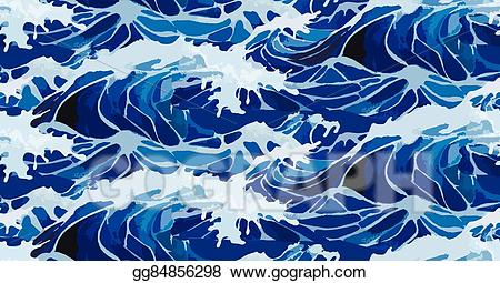 Vector art watercolor storm. Clipart ocean wave pattern