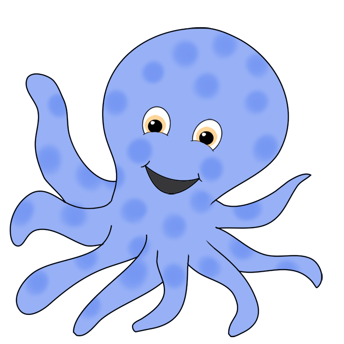 Octopus clipart happy octopus. Blue ringed smiling png