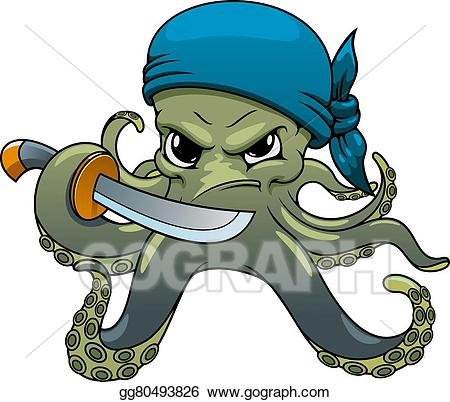 Clipart octopus angry. Vector art cartoon pirate