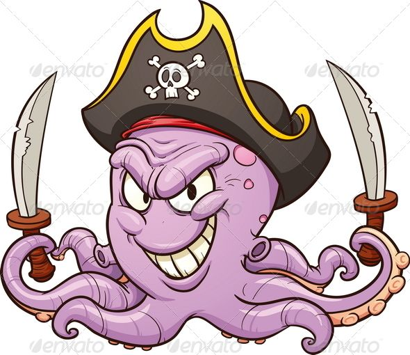 Graphicriver cartoon pirate logo. Clipart octopus angry