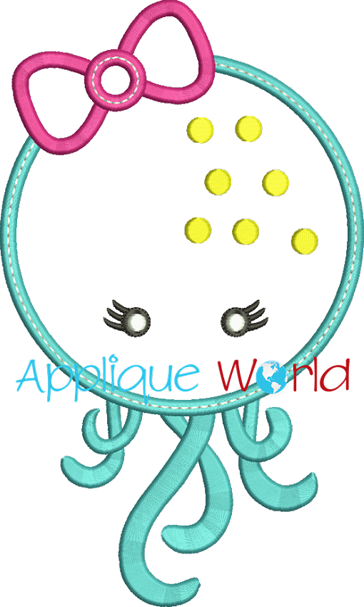 Girly embroidery quick view. Octopus clipart applique