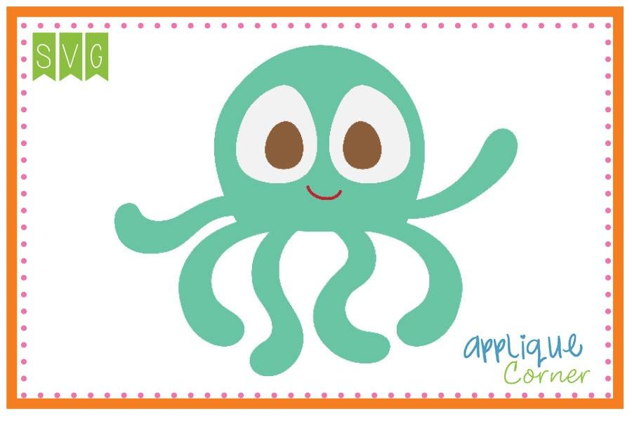 Octopus clipart applique. Corner boy big eye