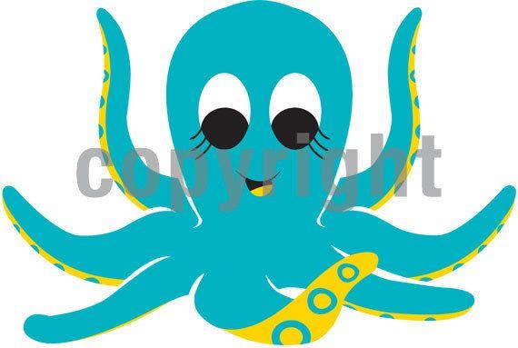 Cute nautical under the. Clipart octopus beach theme