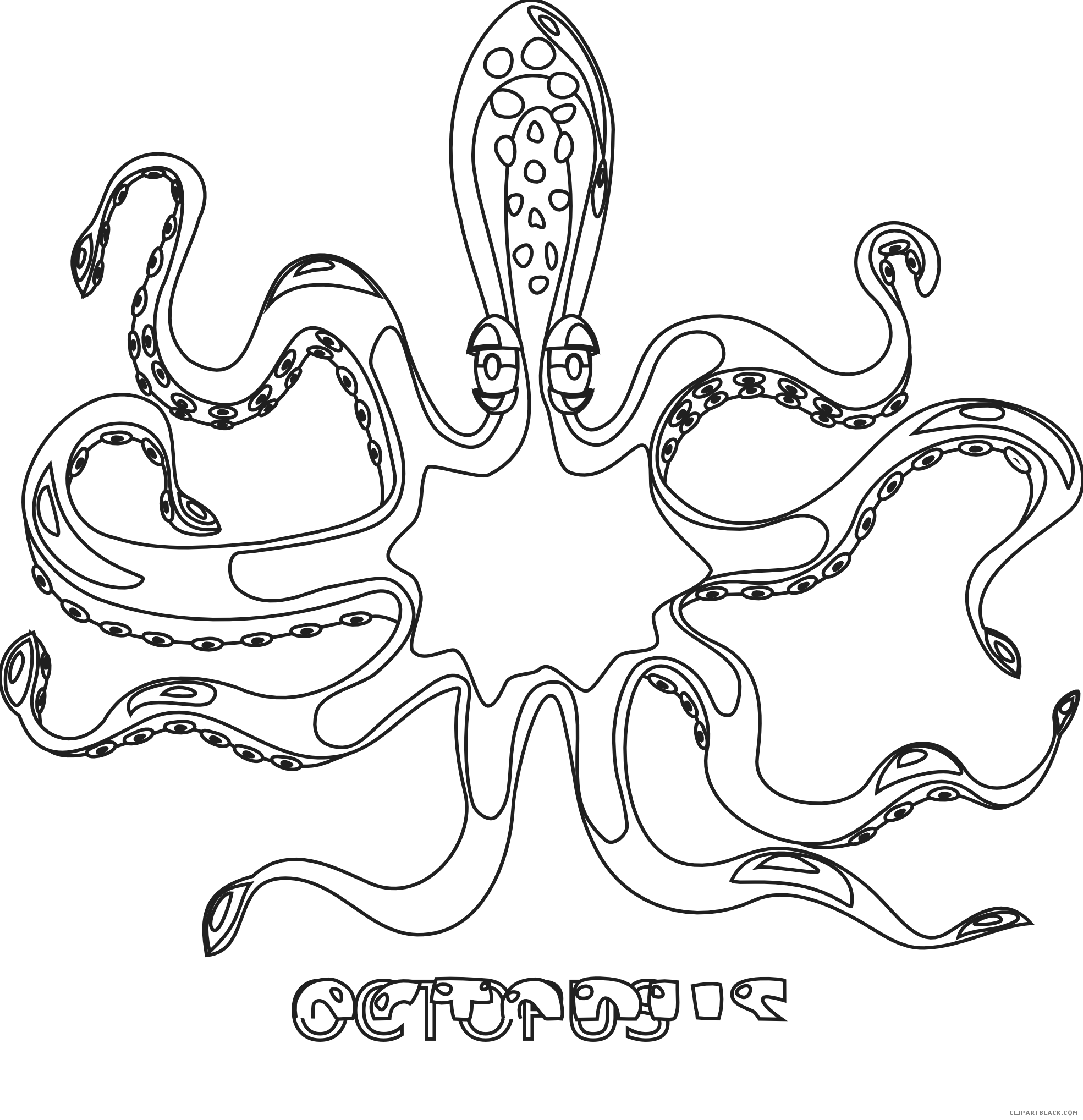 Coloring book clipartblack com. Clipart octopus black and white