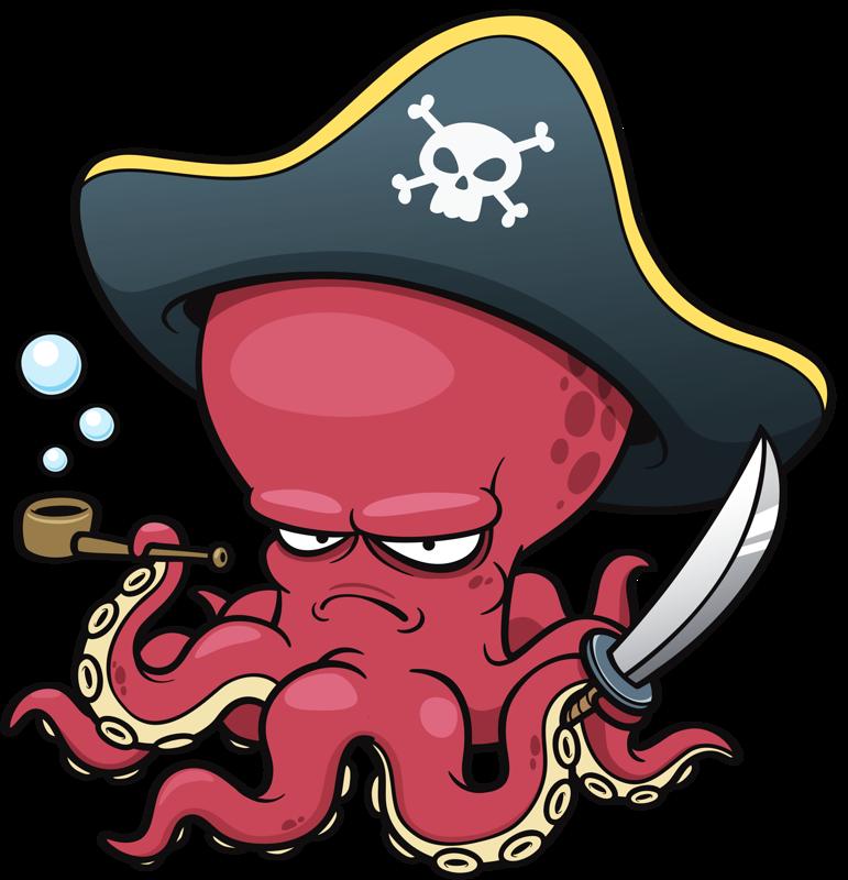 Clipart octopus clipart red. Cartoon clip art pirate