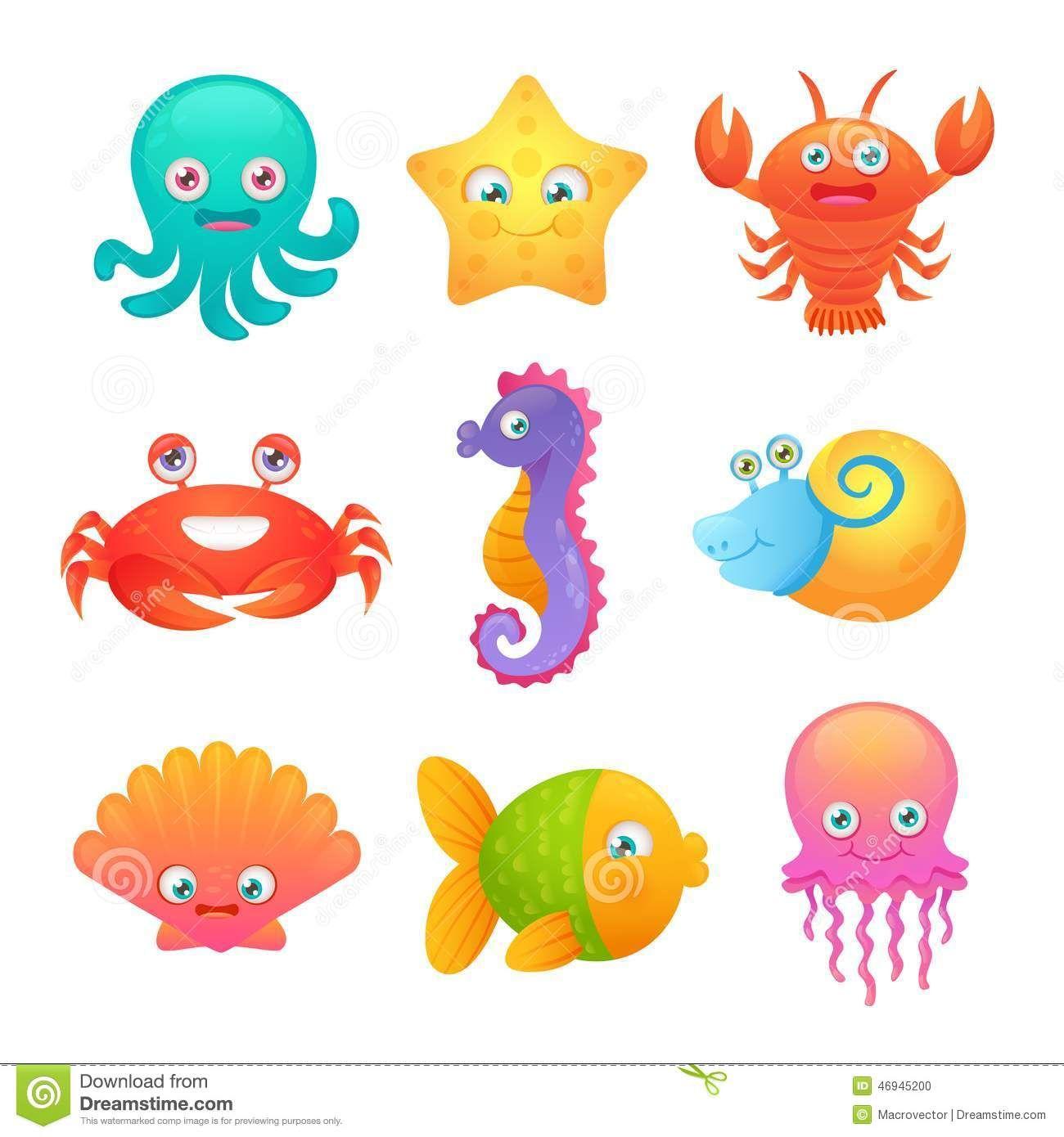 Cartoon sea life creatures. Clipart octopus cute underwate animal