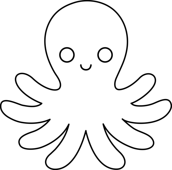 Octopus clipart applique. Cute and simple for