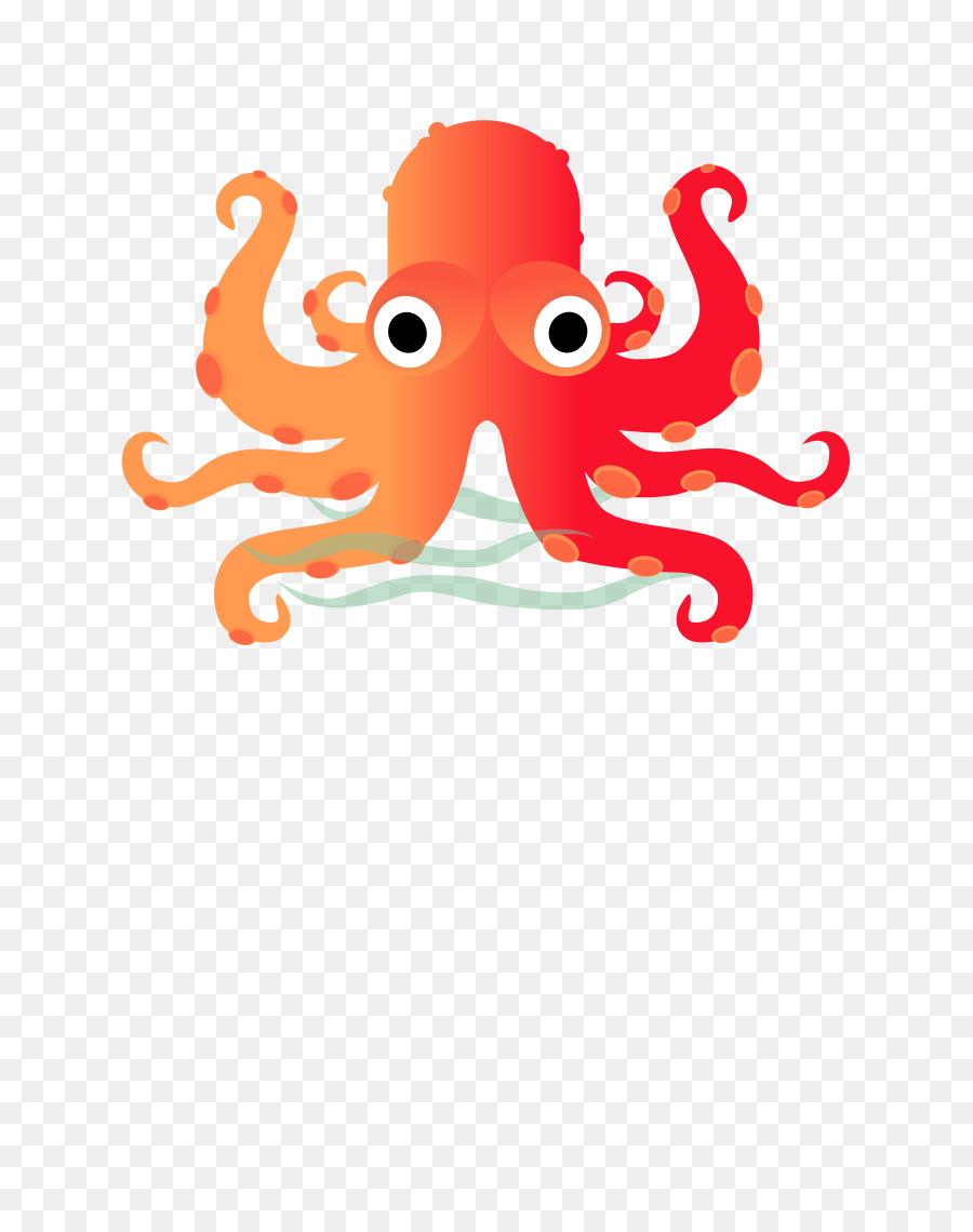 Clipart octopus fish. Cartoon orange