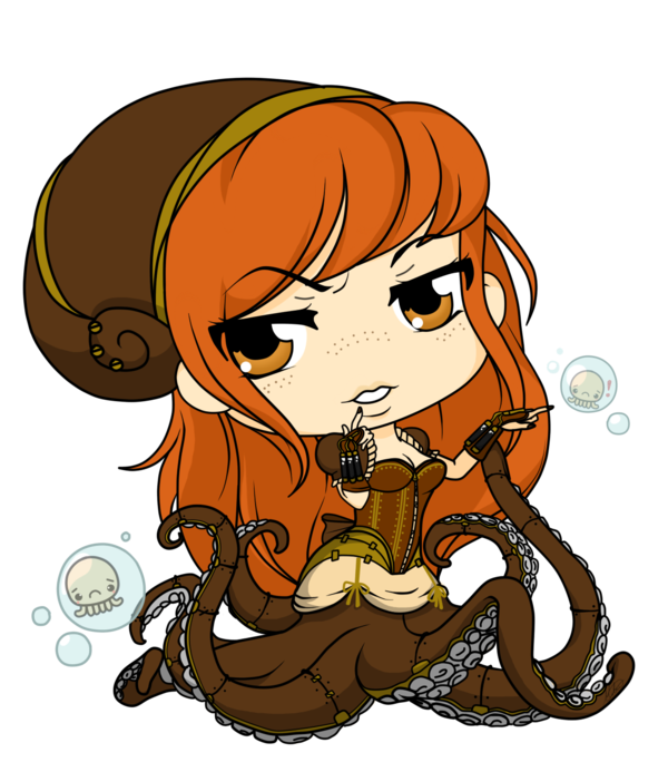 Seagears octopus queen by. Steampunk clipart mermaid