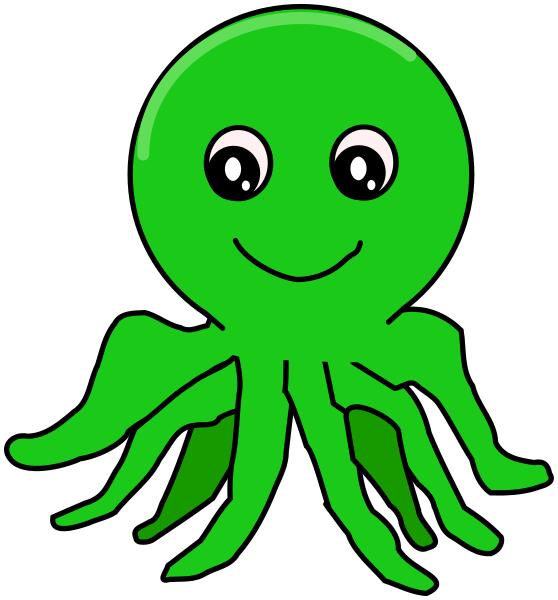 Simple cartoon animals . Clipart octopus green octopus