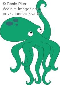 Clipart octopus green octopus. Stock illustration of a